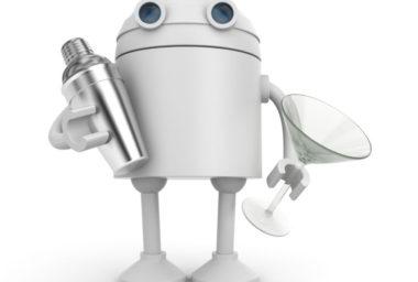 Vprůmyslu roboti, za barem ártýdý