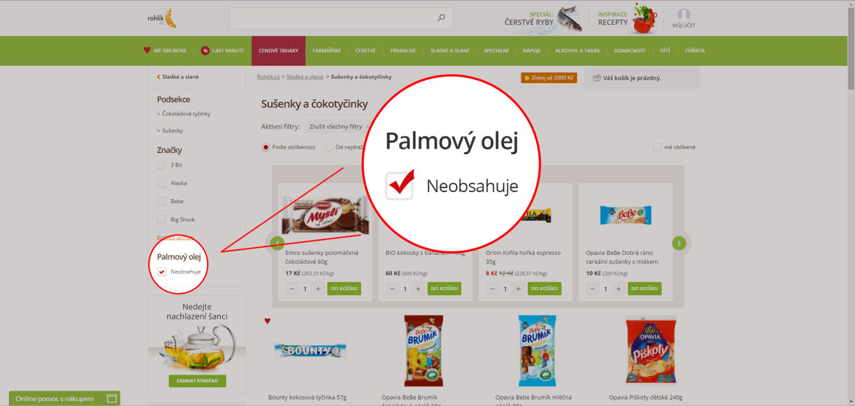 Palmový olej je téma. Potraviny bez něj si filtruje pětina zákazníků Rohlik.cz