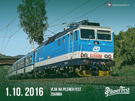 Návštěvníky Pilsner Festu přepraví z Prahy do Plzně a zpět speciální vlak Pilsner Expres. Bude zdarma
